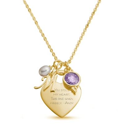 Gold Over Sterling Custom Necklace with Heart with complimentary Filigree Keepsake Box - Sterling Silver Necklaces