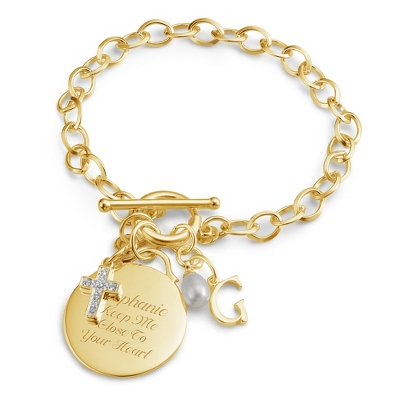 Gold Over Sterling Custom Bracelet w/ Circle with complimentary Filigree Keepsake Box - UPC 825008214330