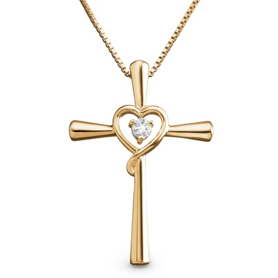 14K Gold/Sterling Cross Heart Necklace with complimentary Filigree Keepsake Box