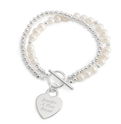 Freshwater Pearl Gemstone Toggle Bracelet with complimentary Filigree Keepsake Box - UPC 825008214378