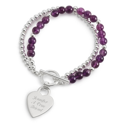 Personalized Amethyst Gemstone Toggle Bracelet with complimentary Filigree Keepsake Box - $19.99