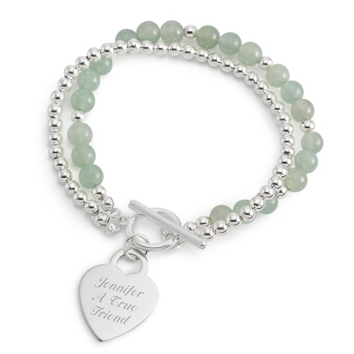 Personalized Green Aventurine Gemstone Toggle Bracelet with complimentary Filigree Keepsake Box