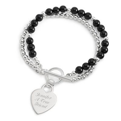 Personalized Black Agate Gemstone Toggle Bracelet with complimentary Filigree Keepsake Box - $19.99