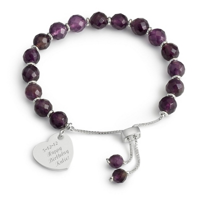 Amethyst Gemstone Facet Bracelet with complimentary Filigree Keepsake Box - Fashion Bracelets & Bangles