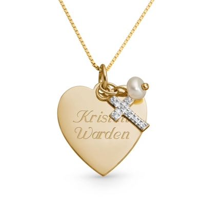 Girl's 14k Gold Heart, Cross and Pearl Necklace with complimentary Filigree Keepsake Box