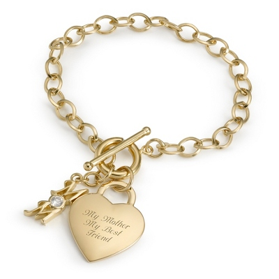 14K Gold/Sterling Mom Bracelet with complimentary Filigree Keepsake Box - $90.00