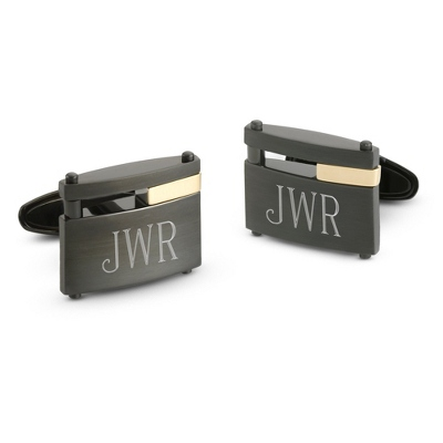 18K Gold Accented Black Steel Cuff Links with complimentary Weave Texture Valet Box - Tie Bars & Cuff Links