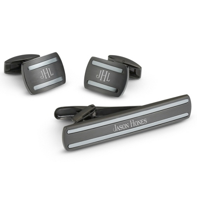 Black Steel Cuff Links and Tie Bar Set with complimentary Weave Texture Valet Box - Men's Accessories