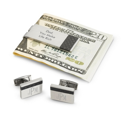 Personalized Carbon Fiber Cuff Links & Money Clip Set by Things Remembered