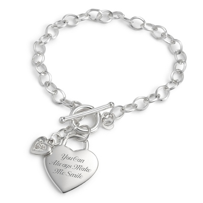 Sterling Silver Diamond Accent Heart Bracelet with complimentary Filigree Keepsake Box