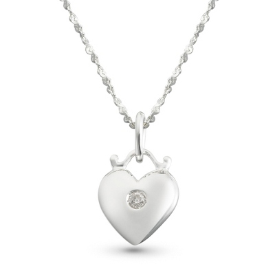 Girl's Diamond Accent Heart Necklace with complimentary Filigree Heart Box - UPC 825008215474