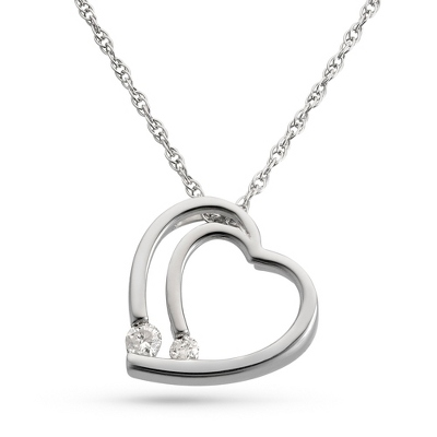 .10 CT Girl's Diamond Heart Necklace with complimentary Filigree Heart Box