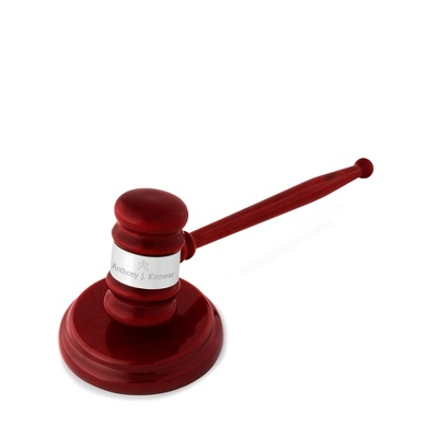 High Gloss Mahogany and Silver Gavel