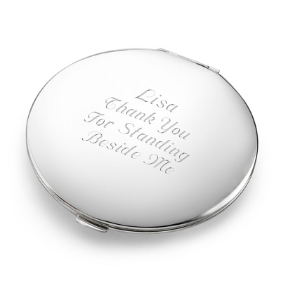 Personalized Classic Silver Compact - Bridal Party Special Offer
