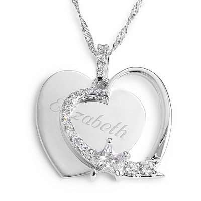 Personalized Heart and Star Necklace with complimentary Filigree Keepsake Box - $29.99