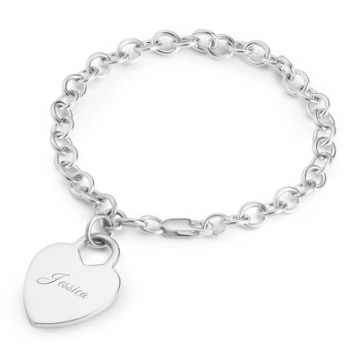 Sterling Heart Dangle Bracelet with complimentary Filigree Keepsake Box