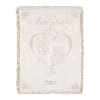 50th Wedding Anniversary Embroidered Pillow