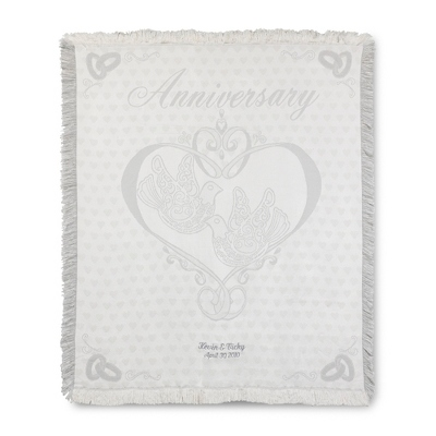 Personalized Embroidered Wedding Throw Blanket