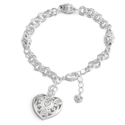 Trilogy Heart Bracelet with complimentary Filigree Keepsake Box - Fashion Bracelets & Bangles