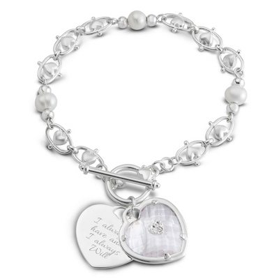 Personalized Endless Heart Bracelet with complimentary Filigree Keepsake Box - $40.00