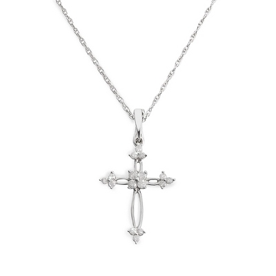 Girl's .20 CT Diamond Cross Necklace with complimentary Filigree Keepsake Box