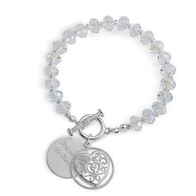 Petite Heart Crystal Bracelet with complimentary Filigree Heart Box