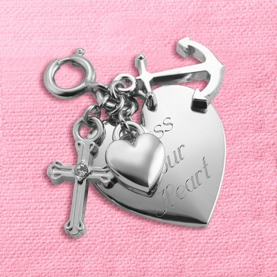 Cross, Anchor and Heart Charm - Women's Religious & Inspirational Jewelry