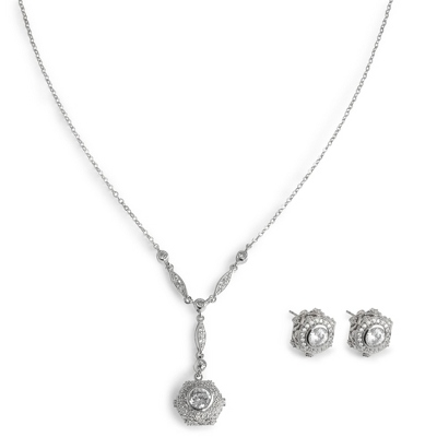 CZ Y Necklace and Earring Set with complimentary Filigree Keepsake Box - Bridal Jewelry