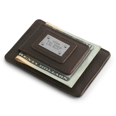 Personalized Brown Leather Money Clip with Card Holder by Things Remembered