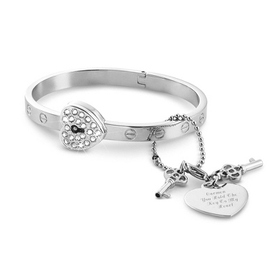 CZ Lock & Key Bracelet with complimentary Filigree Keepsake Box - $30.00