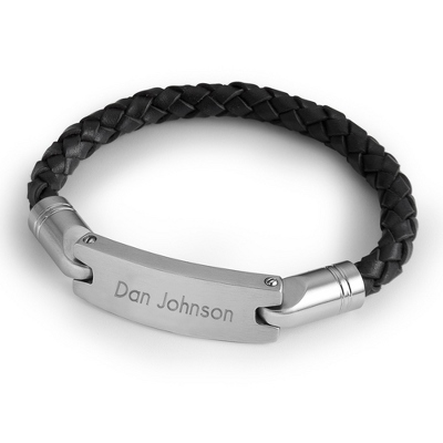 Mens Leather Engravable Bracelets