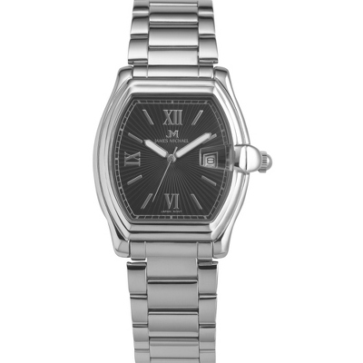 Men's Stainless Steel Black Dial Watch