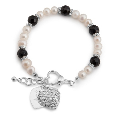 Black Agate and Pearl Bracelet with complimentary Filigree Oval Box