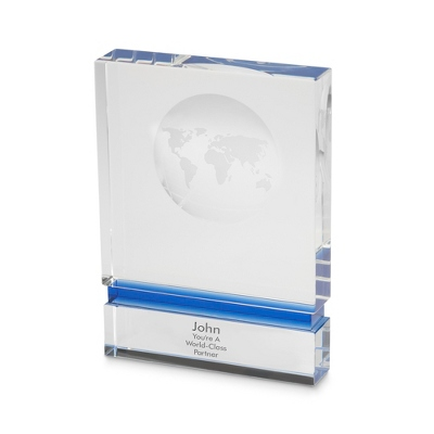 Globe Block Award - Blue Stripe - UPC 825008224858