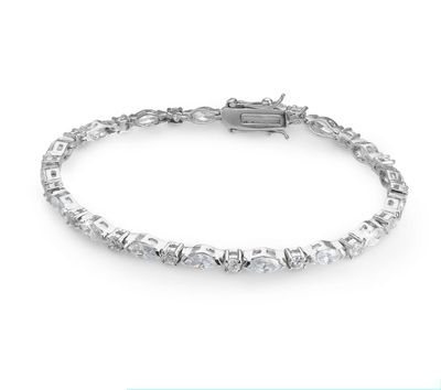 CZ Tennis Bracelet with complimentary Filigree Keepsake Box - Bridal Jewelry
