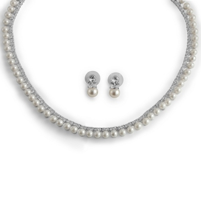 Pearl and Crystal Bridal Set with complimentary Filigree Keepsake Box