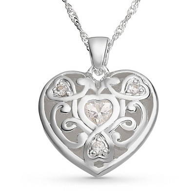 Trilogy Heart Necklace with complimentary Filigree Keepsake Box - Fashion Necklaces