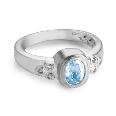 Sterling Birthstone Ring with complimentary Filigree Keepsake Box - $49.99