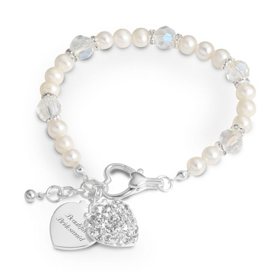 Pearl & Clear Crystal Bracelet with complimentary Filigree Oval Box - $30.00