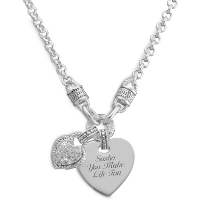 Pave Heart Rope Necklace with complimentary Filigree Keepsake Box
