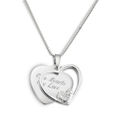 Sterling Silver Crystal Heart in Heart Necklace with complimentary Filigree Keepsake Box