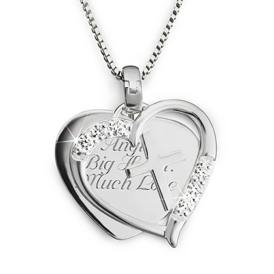Sterling Silver Cross in Heart Necklace with complimentary Filigree Keepsake Box - $70.00