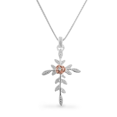 Sterling Silver and Rose Gold Cross with complimentary Filigree Keepsake Box - $39.99