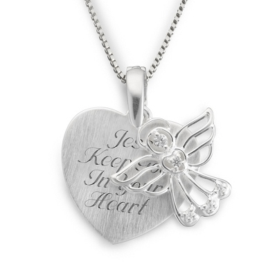 Sterling Angel Satin Heart Necklace with complimentary Filigree Keepsake Box