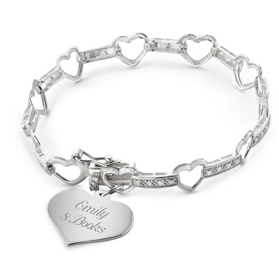 Girl's Sterling Heart Station Bracelet with complimentary Filigree Heart Box