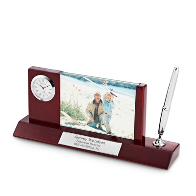 Personalized Mahogany/Silver Photo Clock Pen Stand by Things Remembered