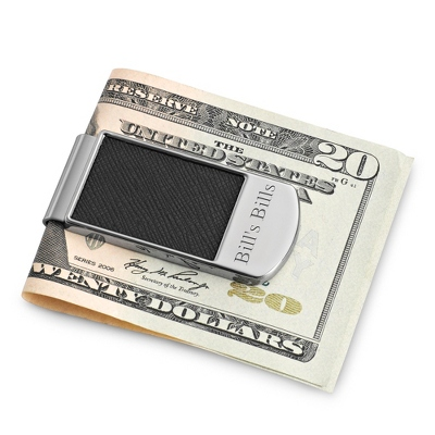 Black Textured Money Clip with complimentary Tri Tone Valet Box - Men's Accessories