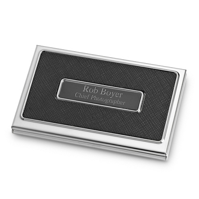 Black Textured Card Case with complimentary Engravable Red Secret Message Card - Black Texture Collection