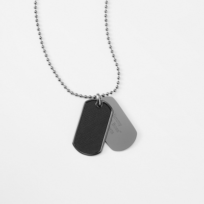 Black Textured Dog Tag- Vertical with complimentary Tri Tone Valet Box