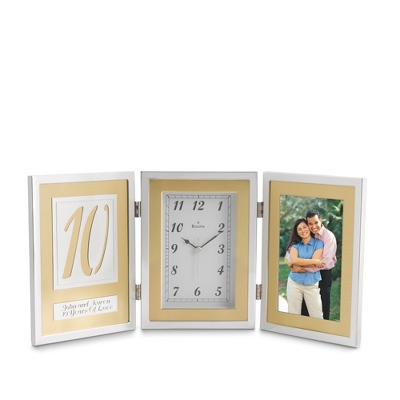 Bulova Engraved Frame Clock Wedding Gift